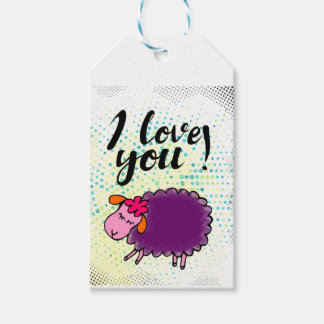 """I love you"" sign with graphic retro Pack Of Gift Tags"