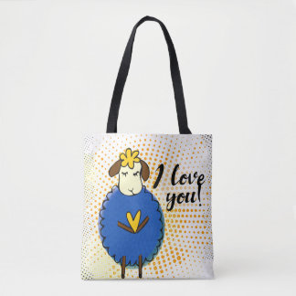 """""""I love you"""" sign with graphic retro Tote Bag"""