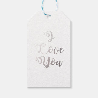 i love you silver gift tags