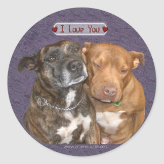 I Love You Snuggling Staffys Round Sticker
