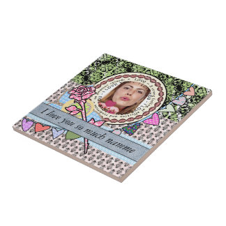 I love you template photo and text ceramic tile