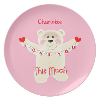 I Love You This Much Cute Teddy Bear Personalized Plates