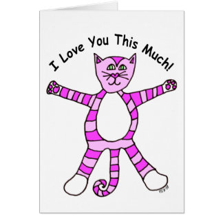 """I Love You This Much"" Pinky Cat Card"