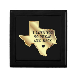 I Love You To Texas and Back Black and Gold Gift Box