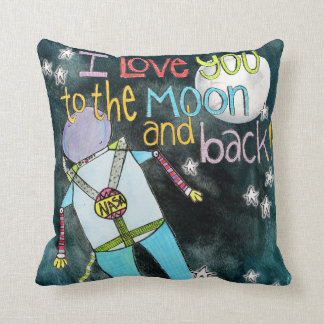 """""""I LOVE you to the moon and back"""" astronaut art Throw Pillow"""
