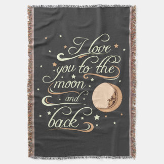 I Love You To The Moon And Back Black Throw Blanket