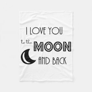 i love you to the moon and back black white modern fleece blanket