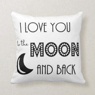 i love you to the moon and back black white throw pillow