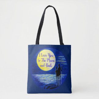 I Love You to the Moon and Back Moon Gazing Tote Bag