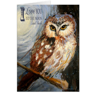 I Love You To The Moon and Back Owl Greeting Card