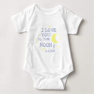I Love You to the Moon and Back Quote - Blue Baby Bodysuit