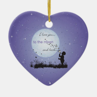 I Love You to the Moon and Back-Unique Gifts Ceramic Heart Ornament