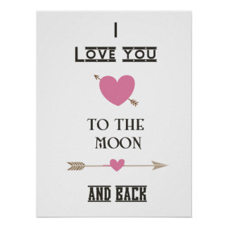 I love you to the moon and back with Pink Hearts Poster