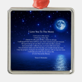 I Love You To The Moon Poetry Collector Metal Ornament