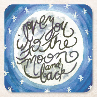 I love you to the moon square paper coaster