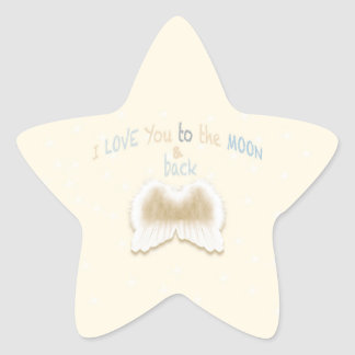 I Love You To The Moon Star Stickers, Glossy Star Sticker