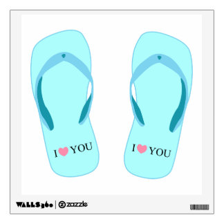 I Love You Turquoise Flip Flops Wall Decal