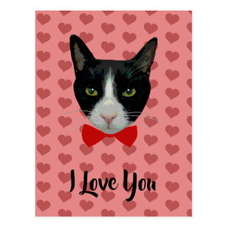 I Love You - Tuxedo Cat with Bow Tie Postcard