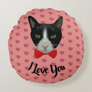 I Love You - Tuxedo Cat with Bow Tie Round Pillow
