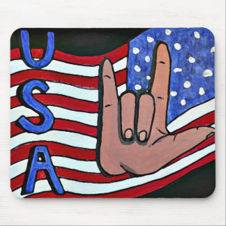 """I Love you USA"" ASL Deaf Sign Language Mouse Pad"