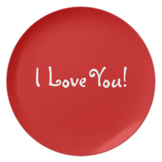 I Love You Valentine Plate (Red)