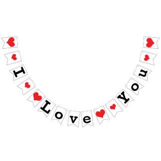 I LOVE YOU Valentine Wedding Decor Bunting Flags