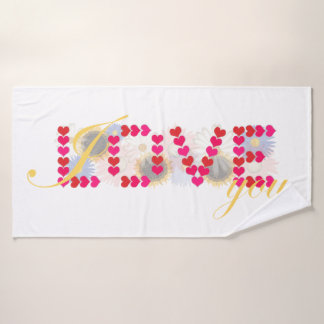 I love you - valentine's day design bath towel