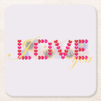 I love you - valentine's day design square paper coaster