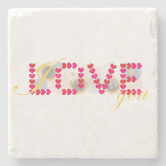 I love you - valentine's day design stone coaster