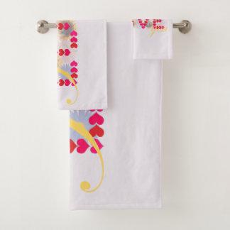 I love you - valentine's design bathroom towel set