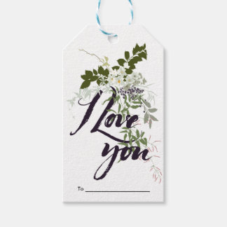 I Love You Vintage Floral Watercolor Gift Tags