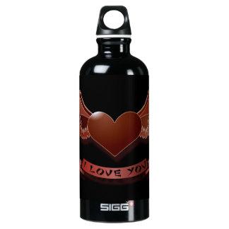 I love you winged heart water bottle