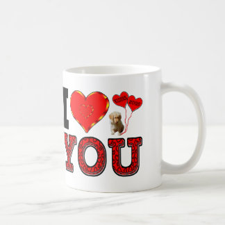 I Love You With Puppy And Hugs & Kisses Balloons Coffee Mug
