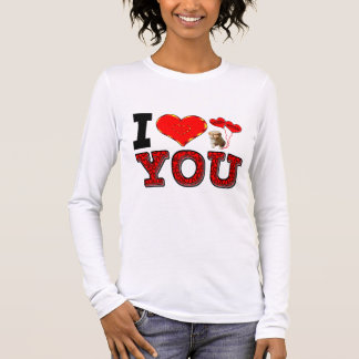 I Love You With Puppy And Hugs & Kisses Balloons Long Sleeve T-Shirt