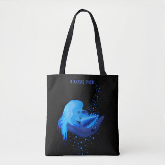I love You , Woman and Blue Rainbow Heart , Stars Tote Bag