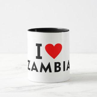 I love zambia country like heart travel tourism mug