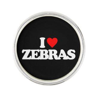I LOVE ZEBRAS LAPEL PIN
