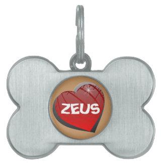 I Love Zeus Doggie Pet Tag