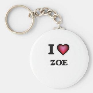 I Love Zoe Basic Round Button Keychain