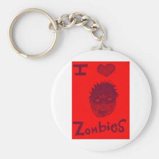 i love zombies basic round button keychain