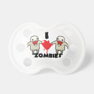 i love zombies character design with heart baby pacifiers