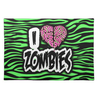 I Love Zombies Place Mats