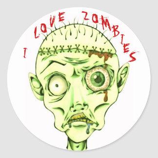 I love zombies round sticker