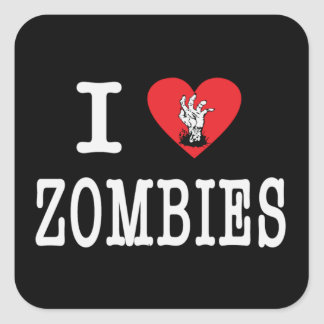 I Love Zombies Square Sticker