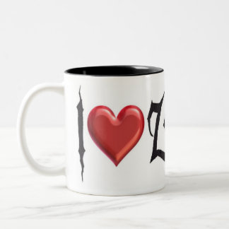 I Love Zombies Two-Tone Coffee Mug