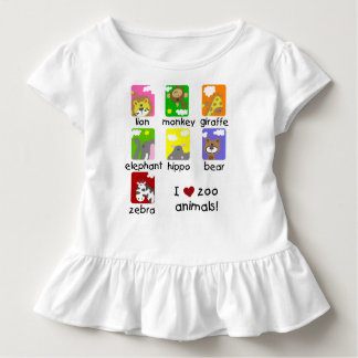 I Love Zoo Animals Toddler Ruffle Tee