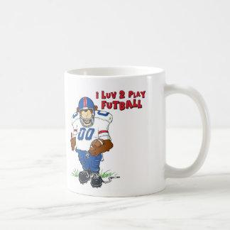 I Luv 2 Play Futball Bear Coffee Mug
