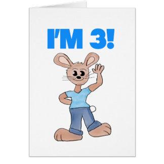 I m 3 Rabbit Birthday Card