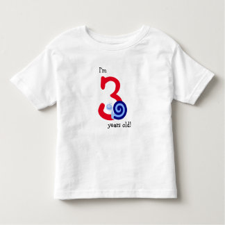 """I'm 3 years old!"" + Cute Happy Blue Snail Toddler T-shirt"