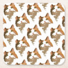I'm All Ears – Cute Calico Cat Portrait Square Paper Coaster